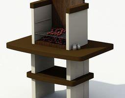 3d modern backyard garden grill with integrated shelving