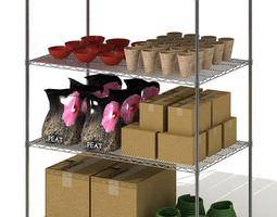 Shelves Metal Four Level Shelf 3D model