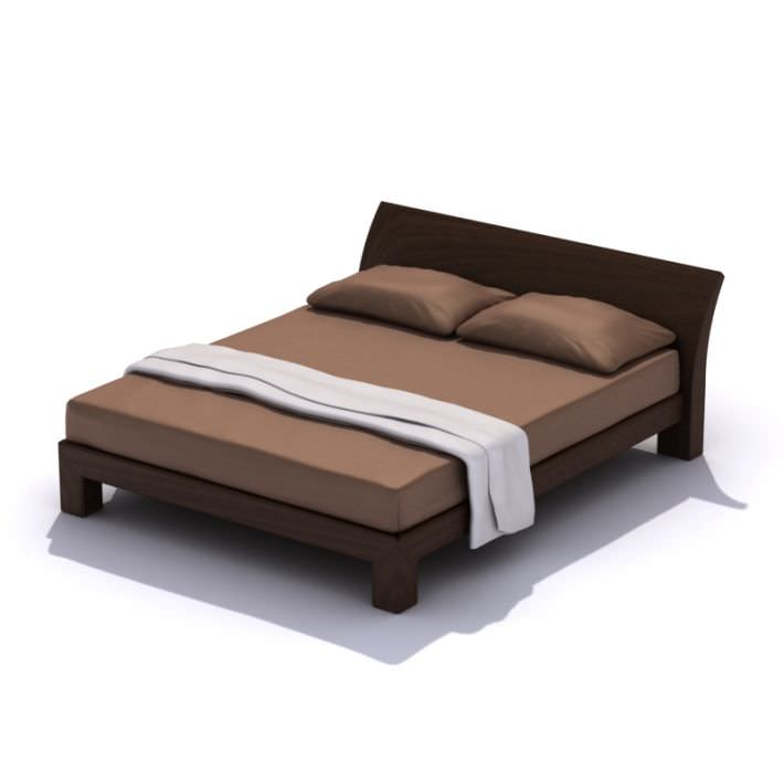 Modern Queen Size Bed Frame 3d Model