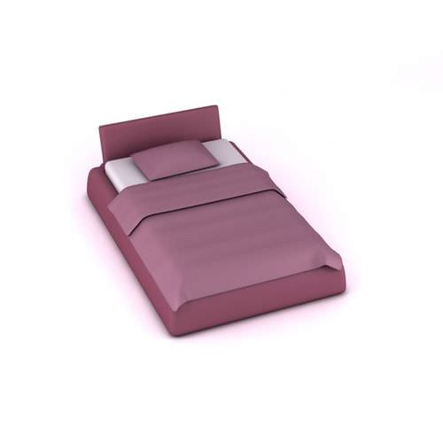 Purple Satin Full Size Bed3D model
