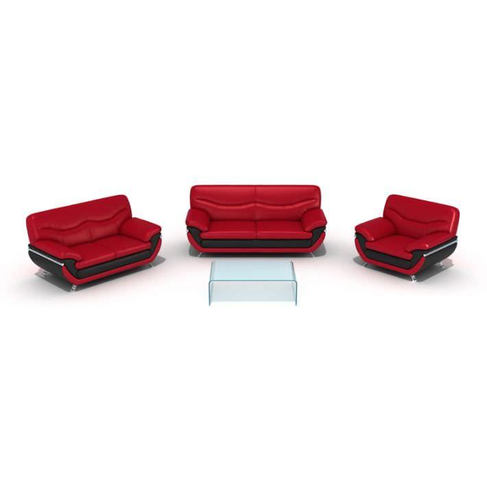 three piece red sofa set 3d model
