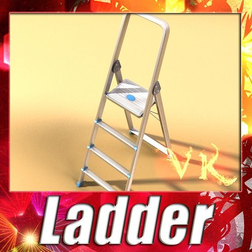 step ladder high detail 3d model max obj fbx mtl mat 1