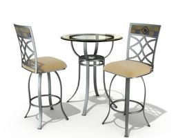 Table And Chair Patio Set 3D
