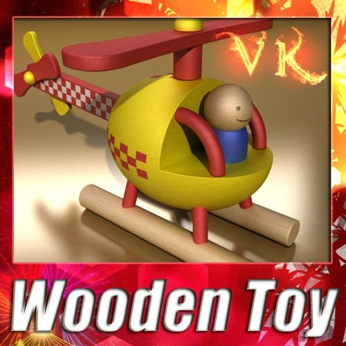Wooden Toy Helicopter3D model