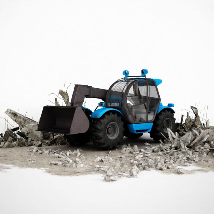 Blue Industrial Earth Mover Excavator