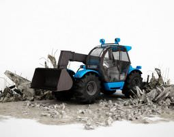 3D Blue Industrial Earth Mover Excavator