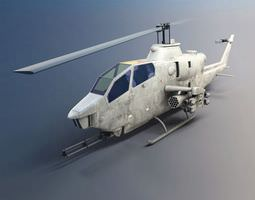 Camouflaged Military Attack Helicopter 3D Model