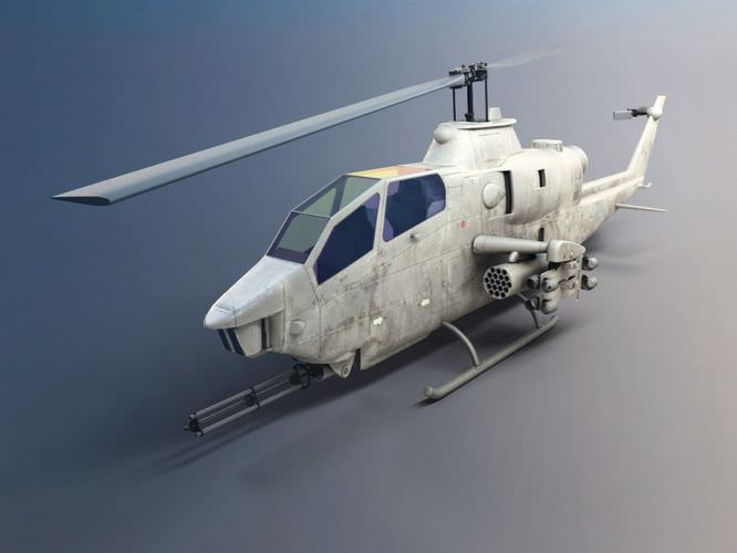 Camouflaged Military Attack Helicopter3D model