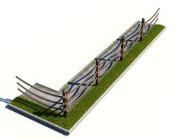 Rope Fence Along Sidewalk 3D