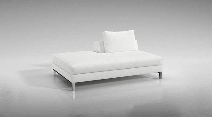 comfortable chic white couch 3d model obj mtl 1