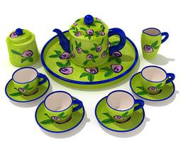 apple green tea service with blue accents 3d model
