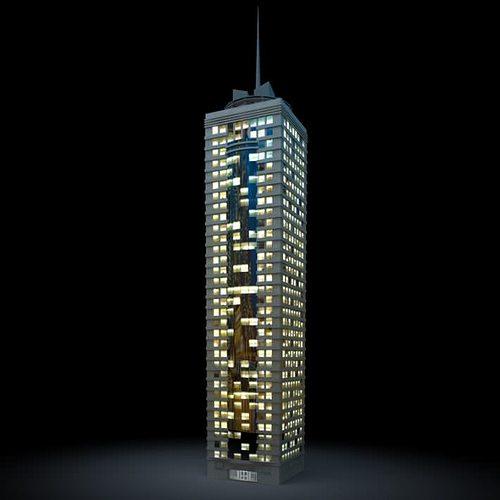 lighted office skyscraper 3d model obj 1