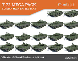 t-72 mega pack all modifications of this tank 17 in1 3d