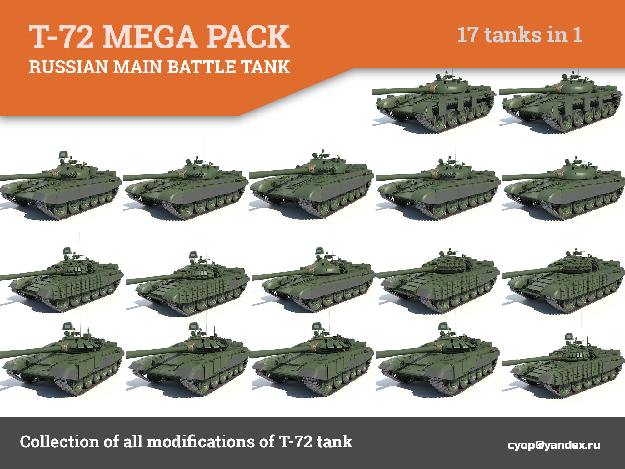 T-72 MEGA PACK all modifications of this tank 17 in1