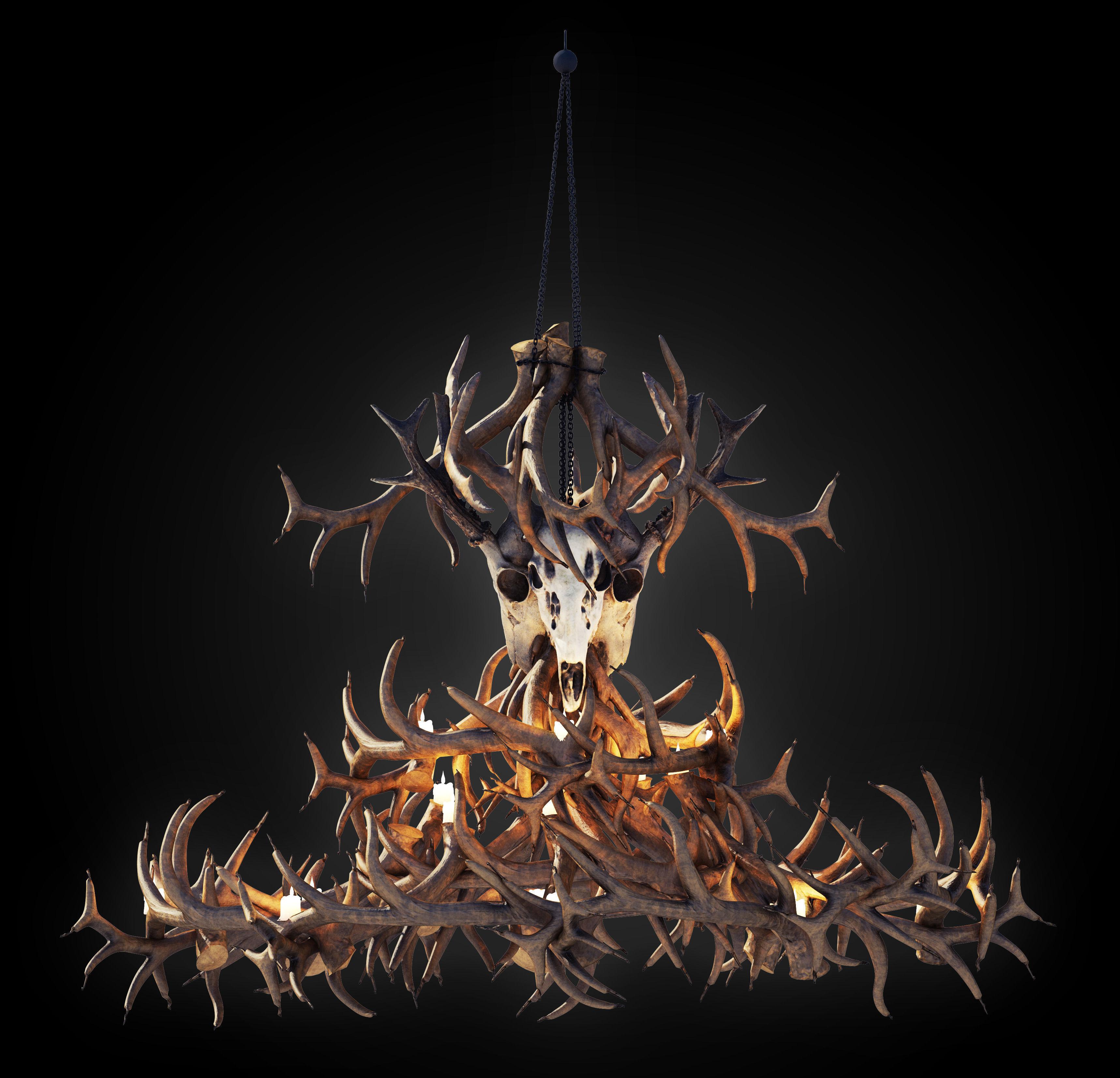 Antler chandelier 3d model cgtrader antler chandelier 3d model max obj fbx mtl 1 aloadofball Image collections