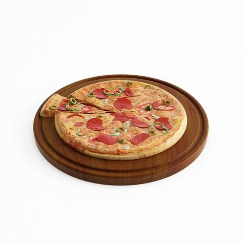 pizza and a slice 3d model obj 1