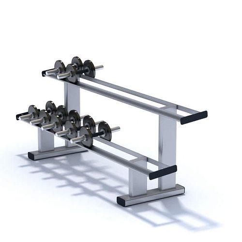 black metallic dumbbell set weights 3d model  1