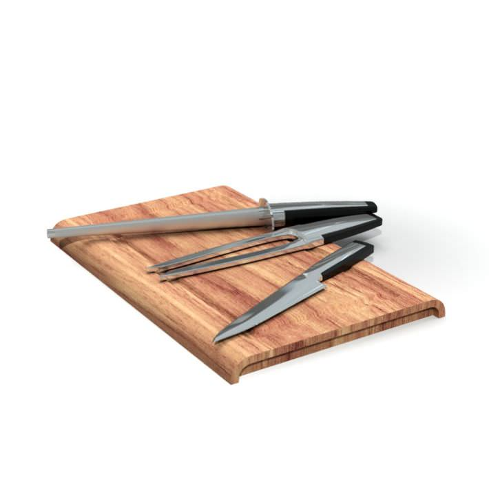 Cutting Board With Tools 3d Model