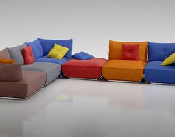 3d model trendy modern colored sofa