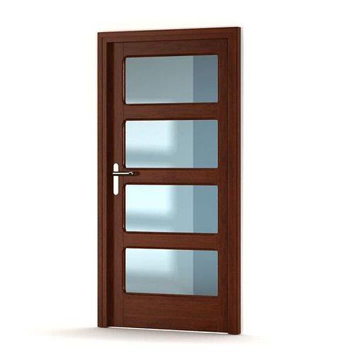 Brown Wooden Door With Glass Panels 3D model | CGTrader