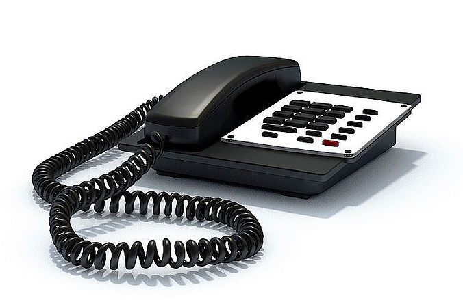 black office phone 3d model max 1