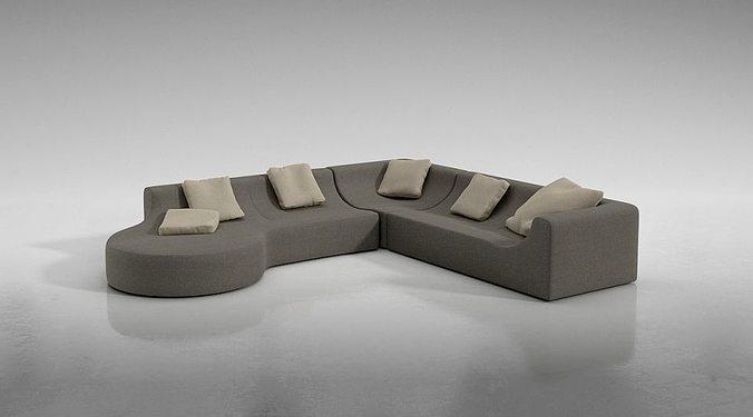 Sofa Full Cotton Sofa Set 3D Model