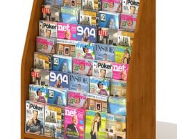 3D Wooden Magazine Display Rack