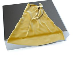 3D model Yellow Silk Cloth On Silver Table