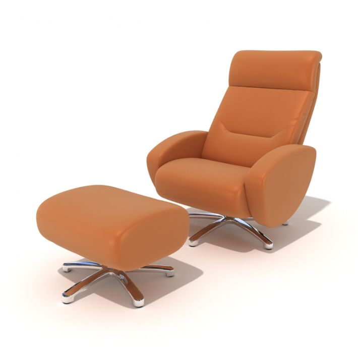 Modern Orange Reclining Chair With Footrest 3d Model