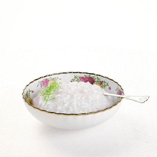 bowl   porcelain with gold trim 3d model obj mtl 1