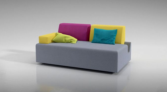 Modern Color Block Couch 3D Model - CGTrader.