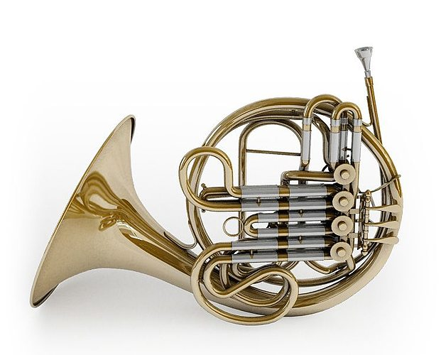majestic classic french horn 3d model obj mtl 1