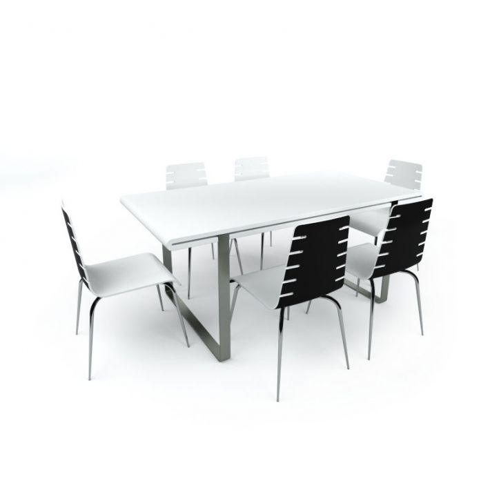 small conference table with chairs 3d model