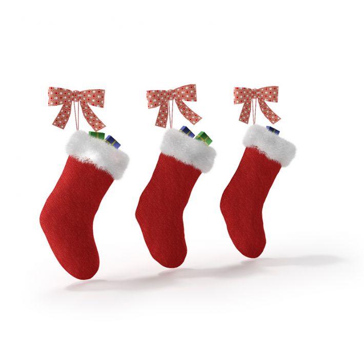 Red Christmas Stockings 3D Model
