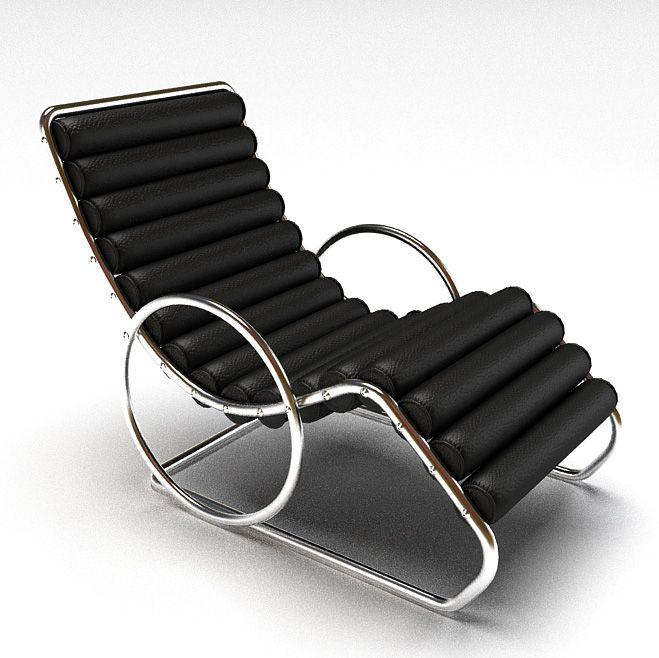 Steel Framed Black Easy Chair 3D Model CGTradercom