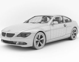 Bmw 6 Series White Wireframe Car 3D Model