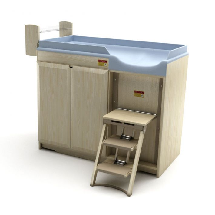 Blue Blonde Wood Modern Changing Table 3d Model Obj 1