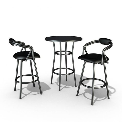 steel restaurant table and chair set 3d model  1