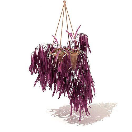hanging potted purple plant 3d model obj mtl 1