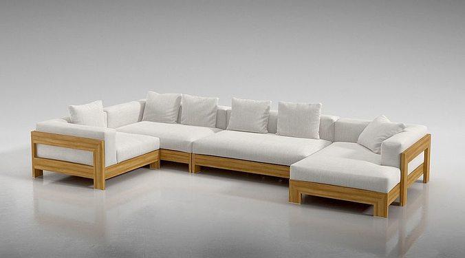 Sofa Modular Linen Sofa 3D Model