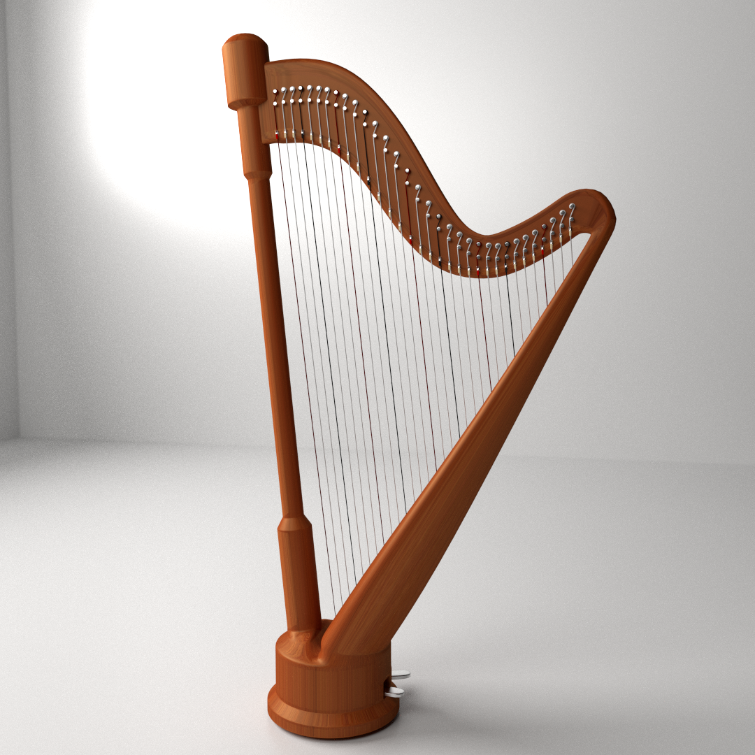 Concert Harp 3D Model 3ds Fbx Blend Dae