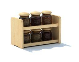 Six Jar Wood Spice Rack 3D