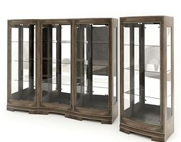 wood and glass display cabinets 3d