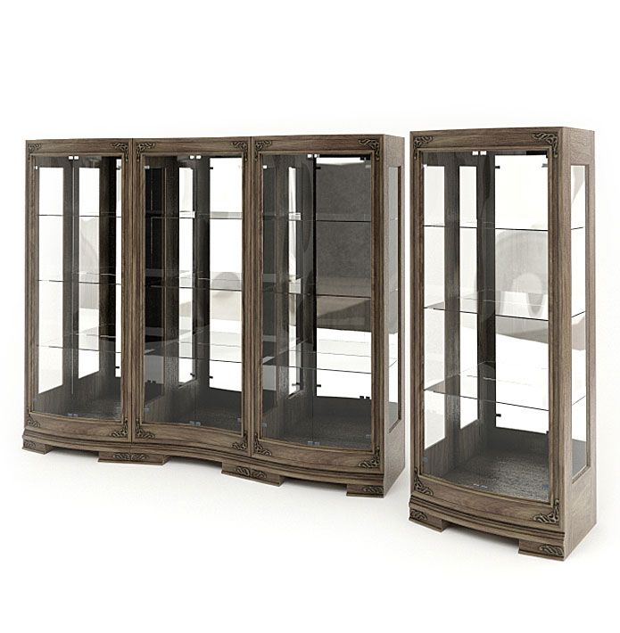 Attractive Wood And Glass Display Cabinets 3d Model Obj 1 Part 6