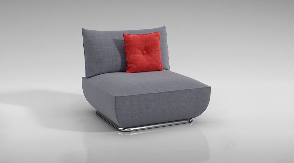 Grey Lounge Chair With Red Pillow 3D Model CGTrader