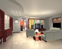 3D Living Room in home