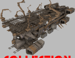 realtime 3d model spaceships collection 3