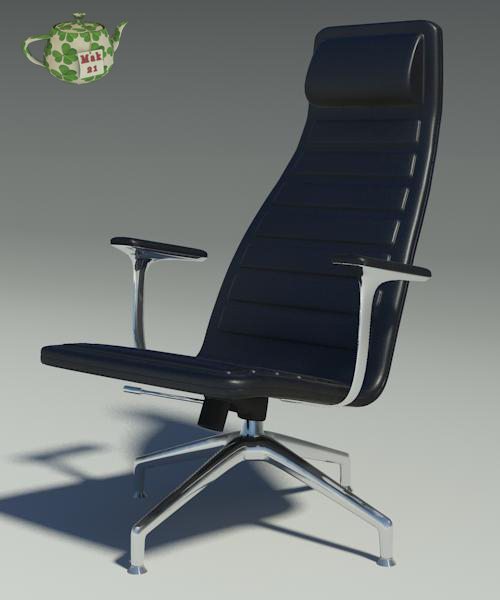 Black Leather Office Armchair 3D Model Max