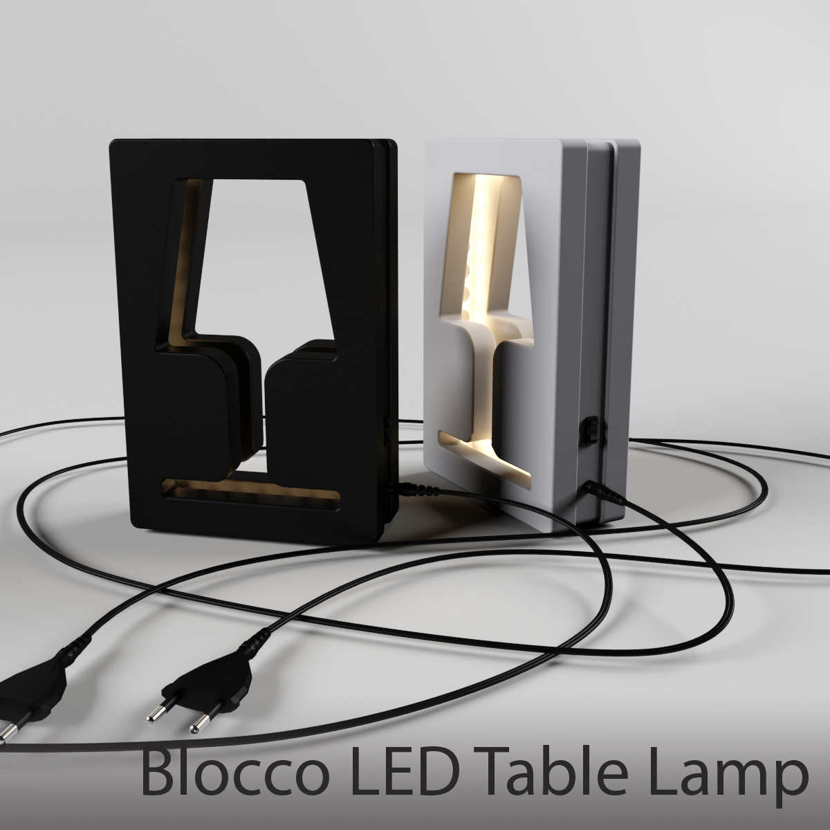 Blocco Led Table Lamp White And Black Modern Table Lamp 3d Model Max Fbx 1