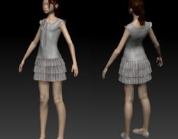 girl in dress 3d model